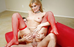 Ravishing blonde lady in red nylons gets her mouth and ass pounded tough