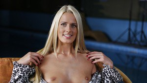 Admirable european blonde with pretty smile revealing her tits and pink slit