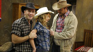 Slippy blonde cowgirl has some double penetration fun with two hung lads