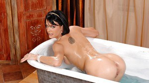 Smiley european hottie taking soapy bath and fisting her tight pussy