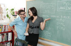 Slutty teacher goes down on her naughty student's stiff dick
