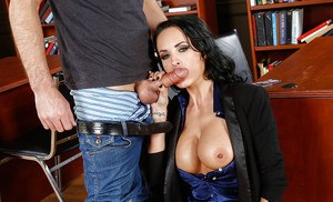 Busty office MILF with round boobies gets fucked and tastes some jizz