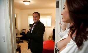 Jealous wife in sexy stockings Jayden Jaymes finishes it with tit fuck