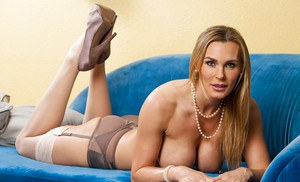 Hot sweet wife Tanya Tate reveals her tight cunt and big jugs