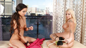 Well-graced Latina lesbian Trinity St. Claire gives cunt lick to Leya