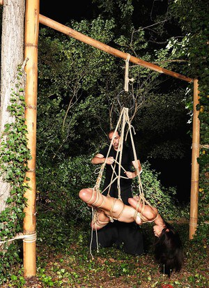 Asian BDSM feminine Marica Hase is tied up in forest by rude male