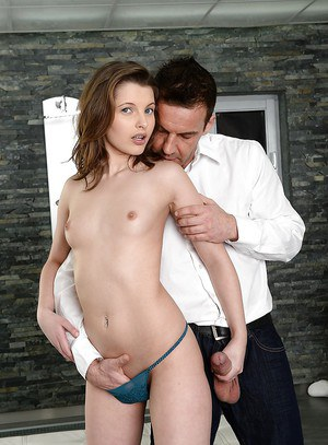 European girlfriend with small appetizing tits Liona swallows good