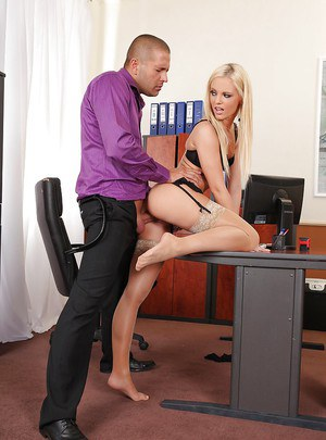 Horny office girl with long legs Vanda Lust plays with long cock