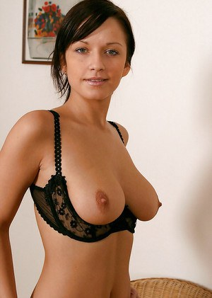Amateur brunette Lucie takes off black dress and beautiful lingerie