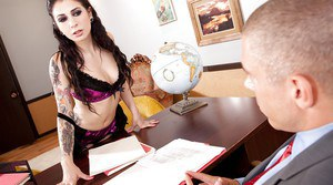 Tattooed amateur milf Joanna Angel surprises office man with anal sex