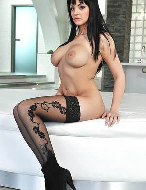 Brunette babe with huge boobs Anastasia Brill remains is hot stockings