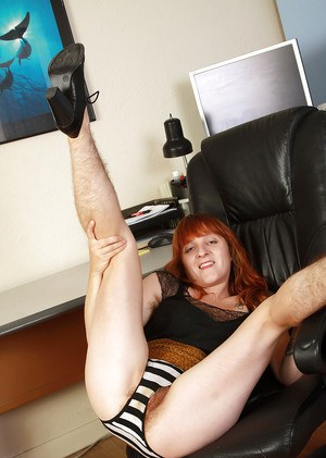 Ugly redhead milf Velma shows off her super hairy parts on the camera
