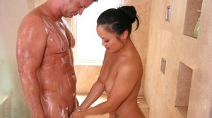 Nice Asian milf named Mya Luanna gets wet and oiled before hot sex