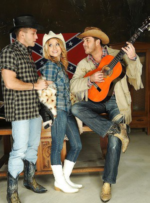 Counry girl Nataly Von and two cowboys in the nice threesome action