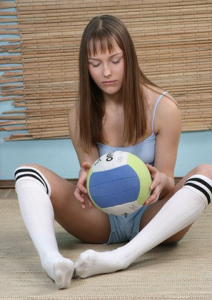 Undressing action with fascinating teen amateur Marina in a gym