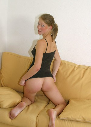 Blonde teen girl Klara is demonstrating her fantastic tiny tits