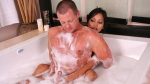 Stunning Asian Lana Violet is doing a perfect massage to her man
