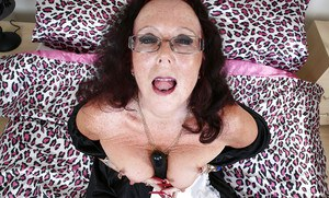 Old maid Zadi is playing with her favorite black dildo toy