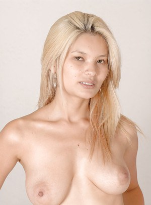 Super pretty Asian blonde babe Miyuki Son with tattooed pussy