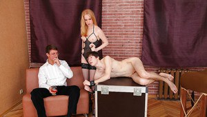 Stockings model Daikiri is fucking with two guys in a BDSM room