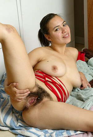 Ultra hairy pussy and big natural tits by amateur milf named Lin