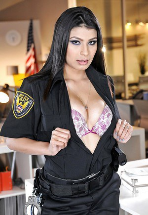Office chick Miya Stone is undressing her Halloween uniform