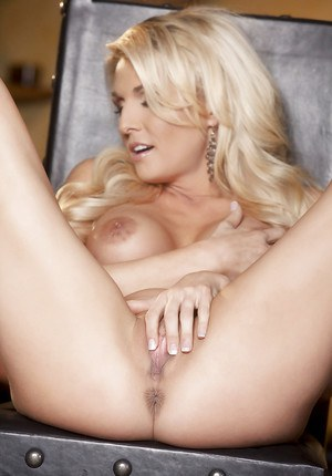 Masturbating action featuring horny blonde with big tits Alicia Secrets