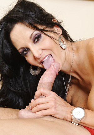 Dark haired milf Ava Addams is doing the best titjob to her man