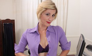 Winsome mature with tiny tits Jayden Monroe posing and getting naughty
