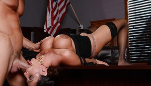 Passionate fucking with a great milf Ariella Ferrera in the office