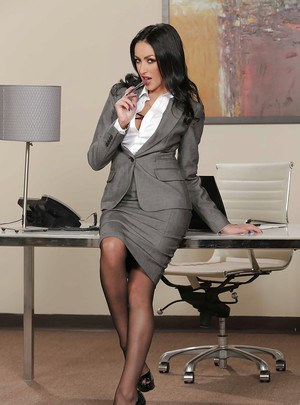 Beautiful brunette office lady Breanne Benson with delicious big tits