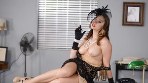 Elegant milf Chanel Preston takes off dress and poses in the office