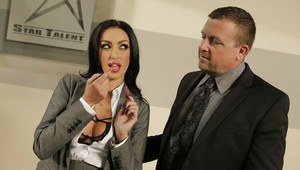 Busty office brunette Breanne Benson facialized after hot action
