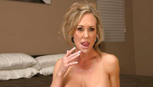 Winsome wife Brandi Love gets a special surprise of sexy face today