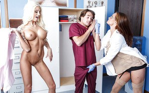 Two classy nurses Rikki Six and Tory Lane caught lucky patient today