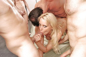 Naughty blonde chick Deborah Prat gets banged by three crazy lovers