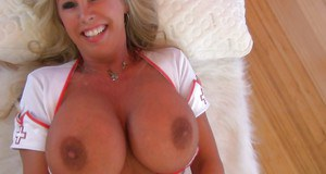 Blonde with big boobs Sandra Otterson looks awesome in nurse uniform