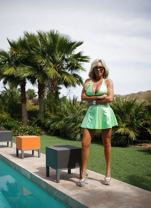 Maddening outdoor scene by swanky busty housewife Sandra Otterson