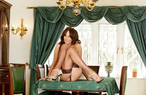 Lovely Jemma Perry posing in stockings and jilling precious sissy