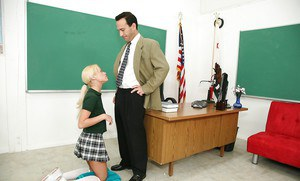 Fascinating schoolgirl Rebecca Blue is doing the best blowjob