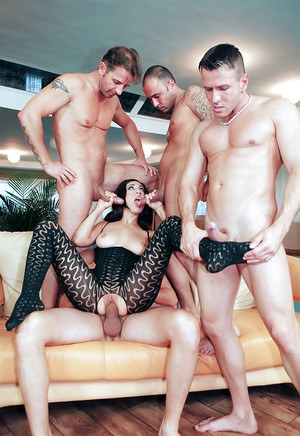 Jolly brunette Eloa Lombard sucking several dicks and getting cumshots