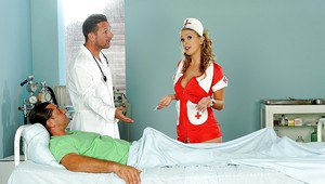 Groupsex fuck with a busty nurse lady Roxie and her patient
