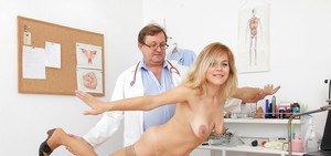 Blonde milf Karen is being checked by her horny doctor in glasses