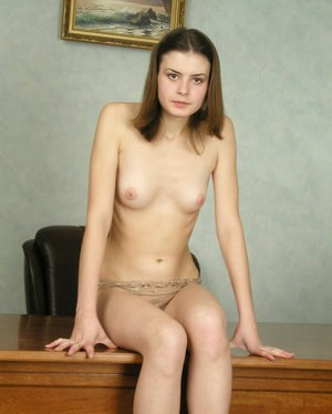 Brave girl Masha adores masturbating in office and playing with boobs