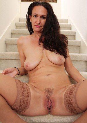 Genevieve Crest shows trimmed pussy through lingerie and masturbates hard