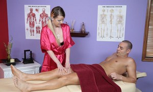 First class massage done by a horny beauty Anita Blue in pink dress