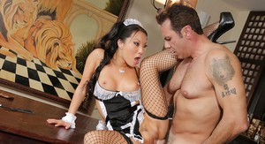 Marvelous Asian maid Asa Akira is having her legs teased