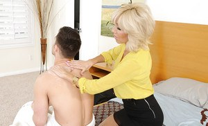 Pretty mom Tara Holiday fucking with a young fellow and getting pleased