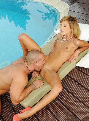 Hardcore pussy pounding scene at the pool featuring Ioana