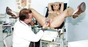 Close up doctor check of an formidable babe Alexa Bold with gyno tits
